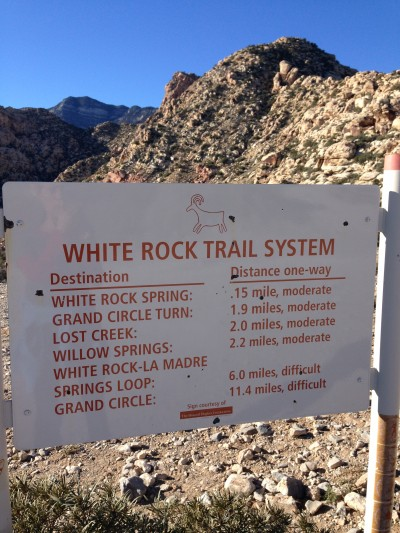 white rock trail system at red rock canyon las vegas